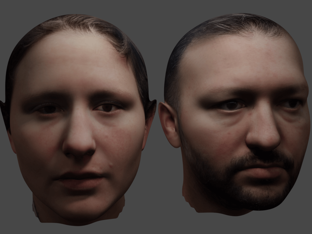 3D Heads generated by FaceBuilder